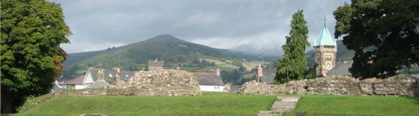 View of Abergavenny with Town Hall and Sugarloaf