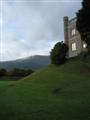 Abergavenny castle keep with the Blorenge in the background