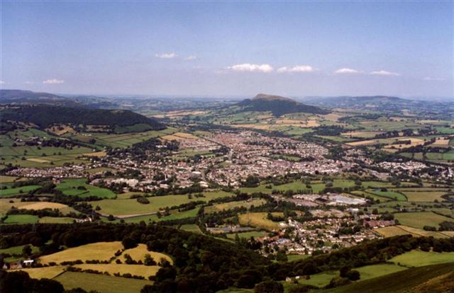 A view of Abergavenny from the top of the Blorenge mountain